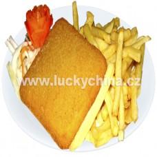 Smažený sýr a hranolky